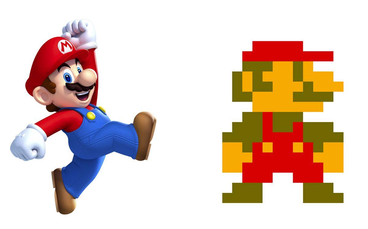 Besondere Kennzeichen: klein und korpulent, Schnauzbart, rote Mütze, Latzhose. Mit diesen Merkmalen war Mario bereits in der 8-Bit-Ära (rechts) ausgestattet. Auch aus technischen Gründen: Die Latzhose und das farbige Oberteil trugen dazu bei, Marios Bewegungsabläufe deutlicher darzustellen. Die Knubbelnase und der Schnauzer erleichterten es, Marios Gesicht zu erkennen.