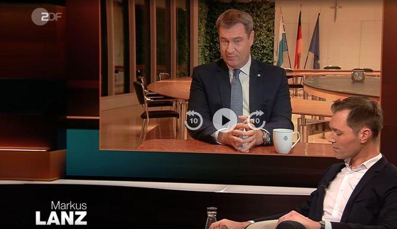 Der bayerische Ministerpräsident Markus Söder war in der Sendung von Markus Lanz zugeschaltet.