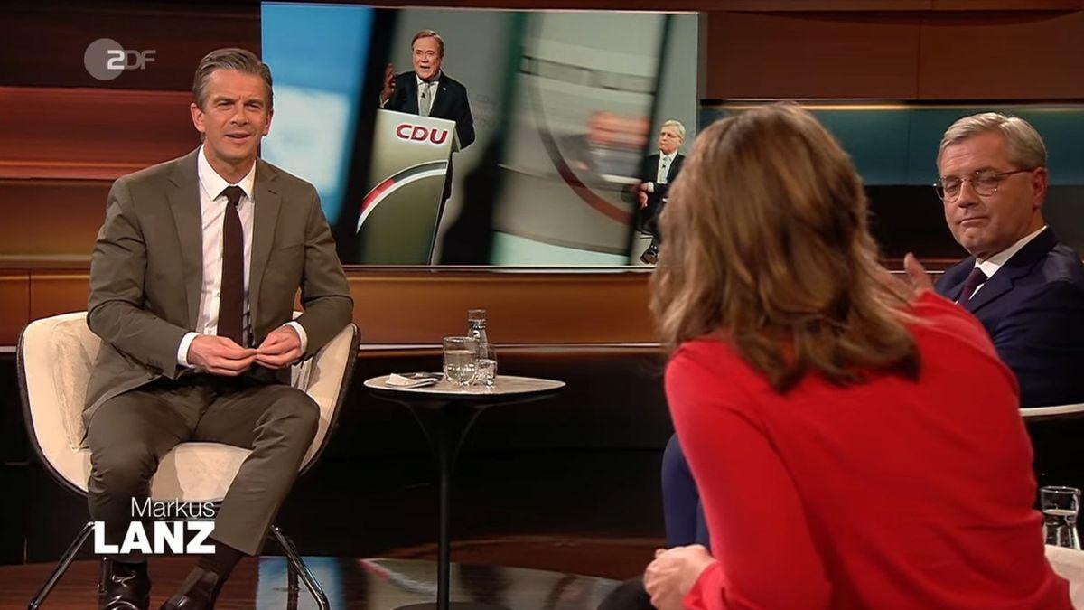 """Markus Lanz (links) zitierte in der jüngsten Ausgabe seiner ZDF-Talkshow den neuen CDU-Parteichef Armin Laschet und beschrieb dessen Aussagen als """"kompletten Paradigmenwechsel"""". CDU-Politiker Norbert Röttgen (rechts) und Journalistin Helene Bubrowski äußerten sich dazu."""
