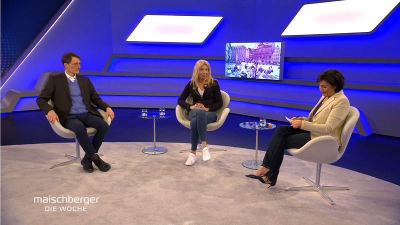 Sandra Maischberger (rechts) diskutierte unter anderem mit SPD-Gesundheitsexperten Karl Lauterbach und der Tübinger Ärztin Dr. Lisa Federle über die vom Bund beschlossene Notbremse.