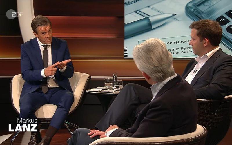 Markus Lanz (links) diskutierte mit seinen Gästen Lars Klingbeil und Marie-Agnes Strack-Zimmermann zum Thema Steuererhöhung - auf gewohnt insistierende Weise.