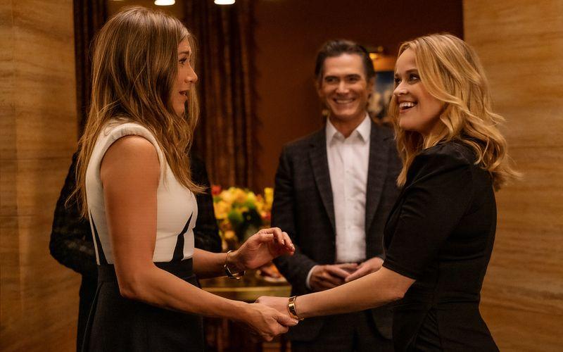Jennifer Aniston (links), Reese Witherspoon und Steve Carell drehen eine weitere Runde im Haifischbecken Frühstücksfernsehen.