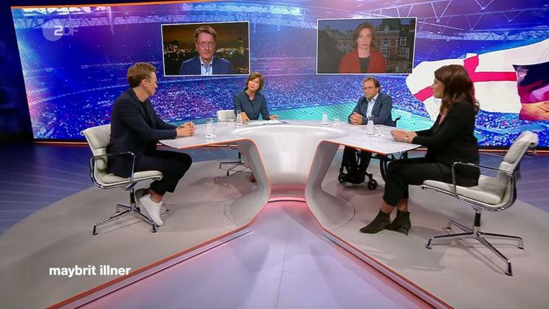 """""""Fußball, Sommer, Mutationen - wie groß bleibt das Corona-Risiko?"""": Zu dieser Fragestellung diskutierte Maybrit Illner (zweite von links) am Donnerstag mit ihren Gästen."""