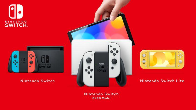 Die Switch-Familie im Überblick: Zur Standard-Version (links) und Lite für rein mobiles Gaming gesellt sich ab 8. Oktober die OLED-Variante.