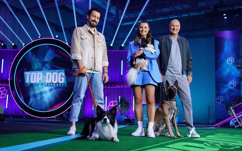 Lasst die Leinen los! Jan Köppen (links), Laura Wontorra und Frank Buschmann suchen den besten Hund Deutschlands.