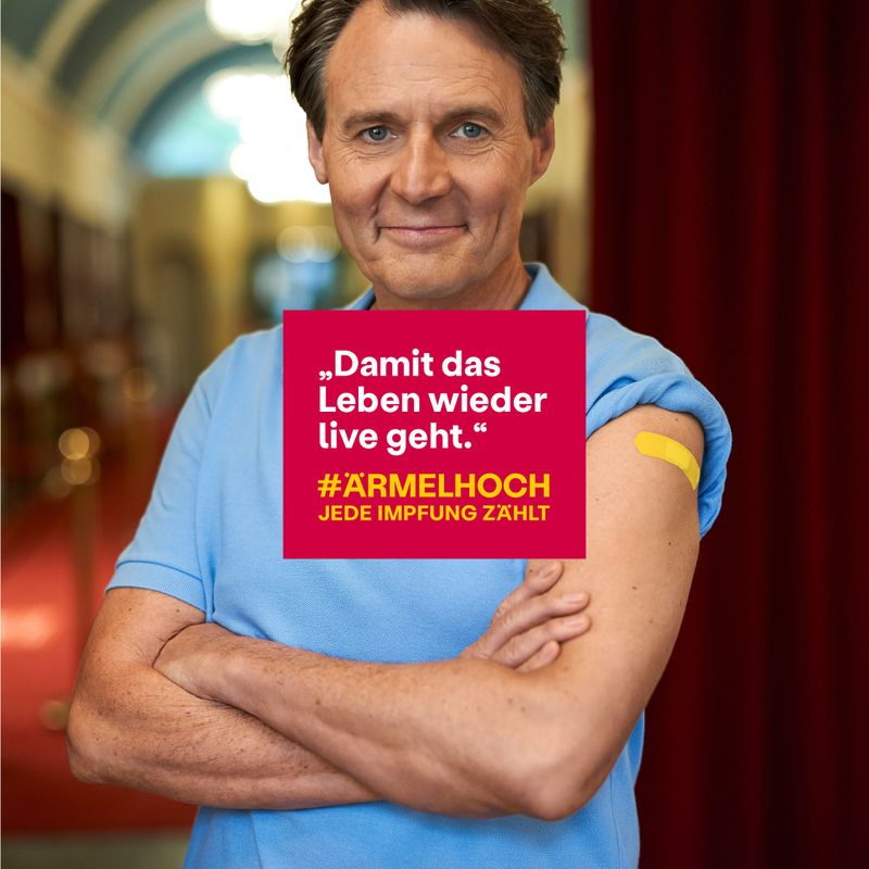 Mit diesem Plakat wirbt Wolfgang Bahro für die Corona-Schutzimpfung.
