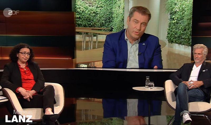 """Der zugeschaltete CSU-Politiker Markus Söder (Mitte) erklärte sich bei """"Markus Lanz"""" zum """"treuen Union-Wahlkämpfer"""". Unter anderem waren zudem die Bauingenieurin Lamia Messari-Becker und Autor Frank Schätzing zu Gast."""