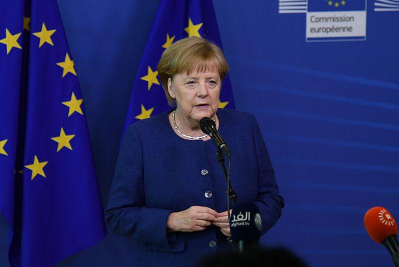 Bundeskanzlerin Angela Merkel vor der Brüsseler EU-Kommission im Juni 2018. Sie warnte vor einer Spaltung Europas bei dem Bestreben, Flüchtlinge aufzunehmen, als in Italien eine populistische Regierung angetreten war.