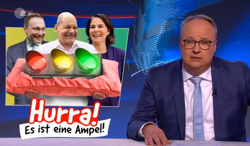 """""""Die Ampel quetscht sich durch den Geburtskanal"""": Oliver Welke in der """"heute-show"""" über die Ampelsondierungen und die Chancen der rot-gelb-grünen Koalition."""